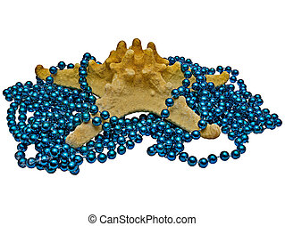 Starfish of The Genus Long Spine Entangled in Decorative Blue Beads, Isolated On White Background