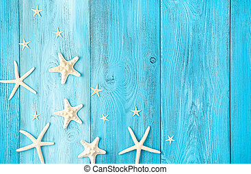 Starfish on a light blue background with space to copy.