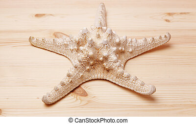 Starfish on a wooden table