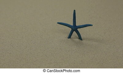 Starfish on sand. Slider shot. Sea summer vacation background with space for the text.