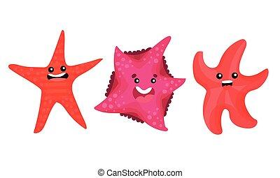 Starfish or Sea Star Smiling and Waving Arms Vector Set