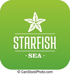 Starfish sea icon green vector