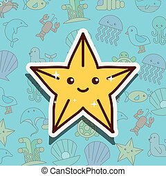 starfish sea life cartoon
