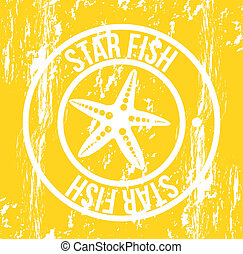 starfish seal over yellow background. vector illustration