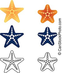 Starfish set on a white background. Vector