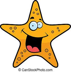 Starfish Smiling - A cartoon gold starfish smiling and...