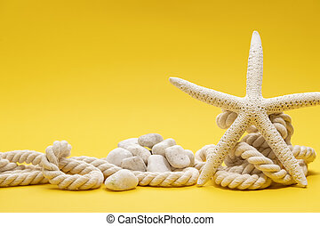 Starfish, stones and rope on a plain yellow background