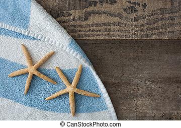 starfish, su, uno, asciugamano spiaggia