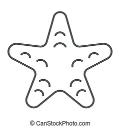 Starfish thin line icon, animal and underwater, aquatic sign vector graphics, a linear pattern on a white background, eps 10.