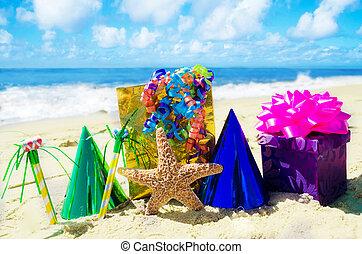 Starfish with Birthday decorations on the beach