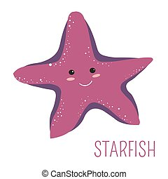 Starfish with face childish book cartoon character
