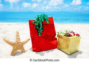Starfish with gifts - holiday concept