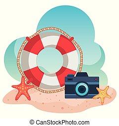 starfishes, カメラ, 砂, 浮き, 浜