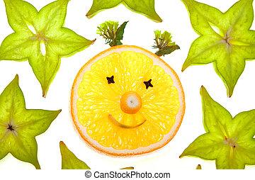 Starfruit (carambola) slices with orange face