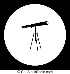 stargazer telescope simple silhouette black icon eps10