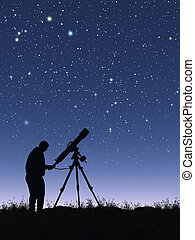 Stargazer - This image shows a stargazer with his telescope