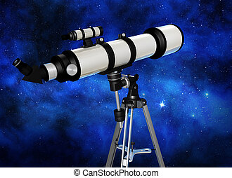 stargazing - telescope looking at a starry night sky