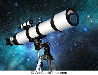 stargazing - white telescope in a starry blue sky
