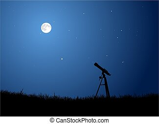 Vector Illustration of a telescope silhouette pointing at a full moon.