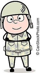 Staring and Smiling - Cute Army Man Cartoon Soldier Vector Illustration