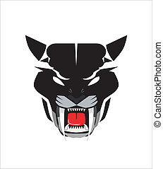 staring black panther head icon - suitable for team...