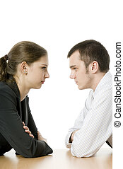 Staring Competition - A young businesswoman and businessman...