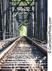 Staring down railroad tracks across bridge