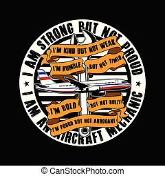 stark, design., inte, men, proud., flygplan, bra, t-shirt, slogan, citera