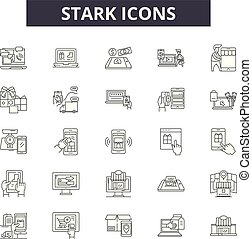 Stark line icons, signs, vector set, linear concept, outline...
