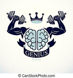 stark, mental, driva, hjärna, bodybuilder., concept., emblem...