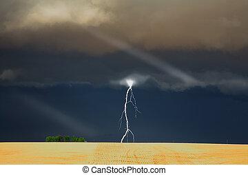 stark, thunder-storm, ovanför, den, fält
