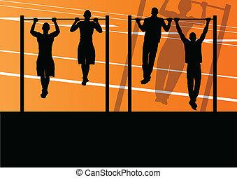 starke , turnhalle, abbildung, aktive, silhouetten, vektor, hintergrund, fitness, schieben, sport, ups, mann