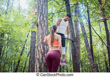 starker mann, und, athletische, frau, machen, eignung- übung, draußen