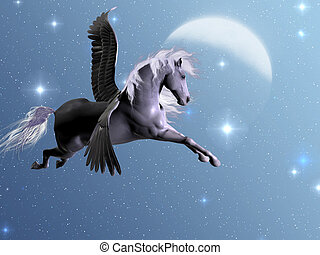 Starlight Pegasus - Silver Pegasus flies near the stars and...