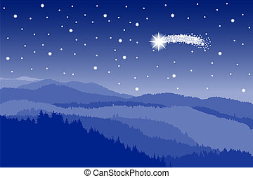 starlit sky with shooting star - vector illustration of a...