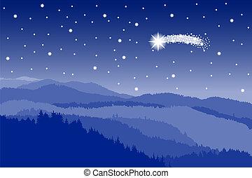 starlit, tir, ciel, étoile