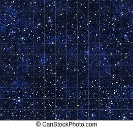 starmap, sterretjes, en, buitenste ruimte