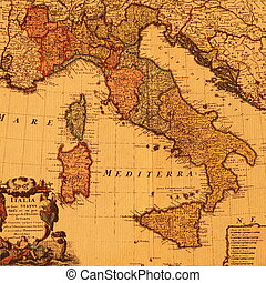 starożytna mapa, od, włochy