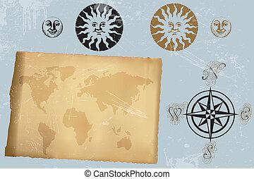 starożytna mapa, róża, rocznik wina, świat, wiatr