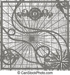 starożytna mapa, róża, wstążki, symbolika, parchment., wektor, busola, morski, ilustracje, świat, marynarka, wiatr