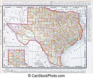 starożytna mapa, zjednoczony, usa, tx, stany, texas