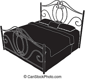 starożytny, łóżko
