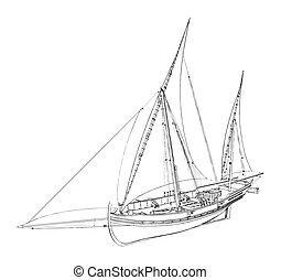 starożytny, łódka