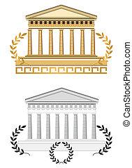 starożytny, świątynia, front