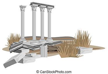 starożytny, świątynia, gruzy