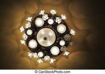 starożytny, światła, świecznik