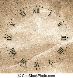 starożytny, abstrakcyjna twarz, tło, zegar