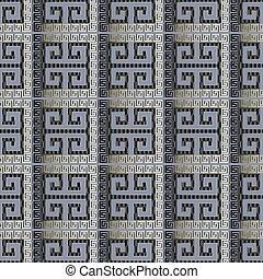 starożytny, abstrakcyjny, nowoczesny, pattern., seamless, pasiasty, meandry, czek