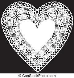 starożytny, biały, koronka, serwetka, serce