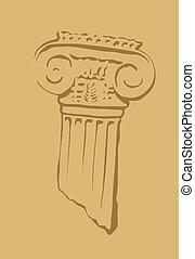starożytny, capital., stary, szczątki, starożytny, column., temple., ruins.